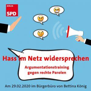 Einladung zum kostenfreien Workshop gegen rechte Parolen im Internet am 29. Februar @ Bürgerbüro Bettina König, MdA