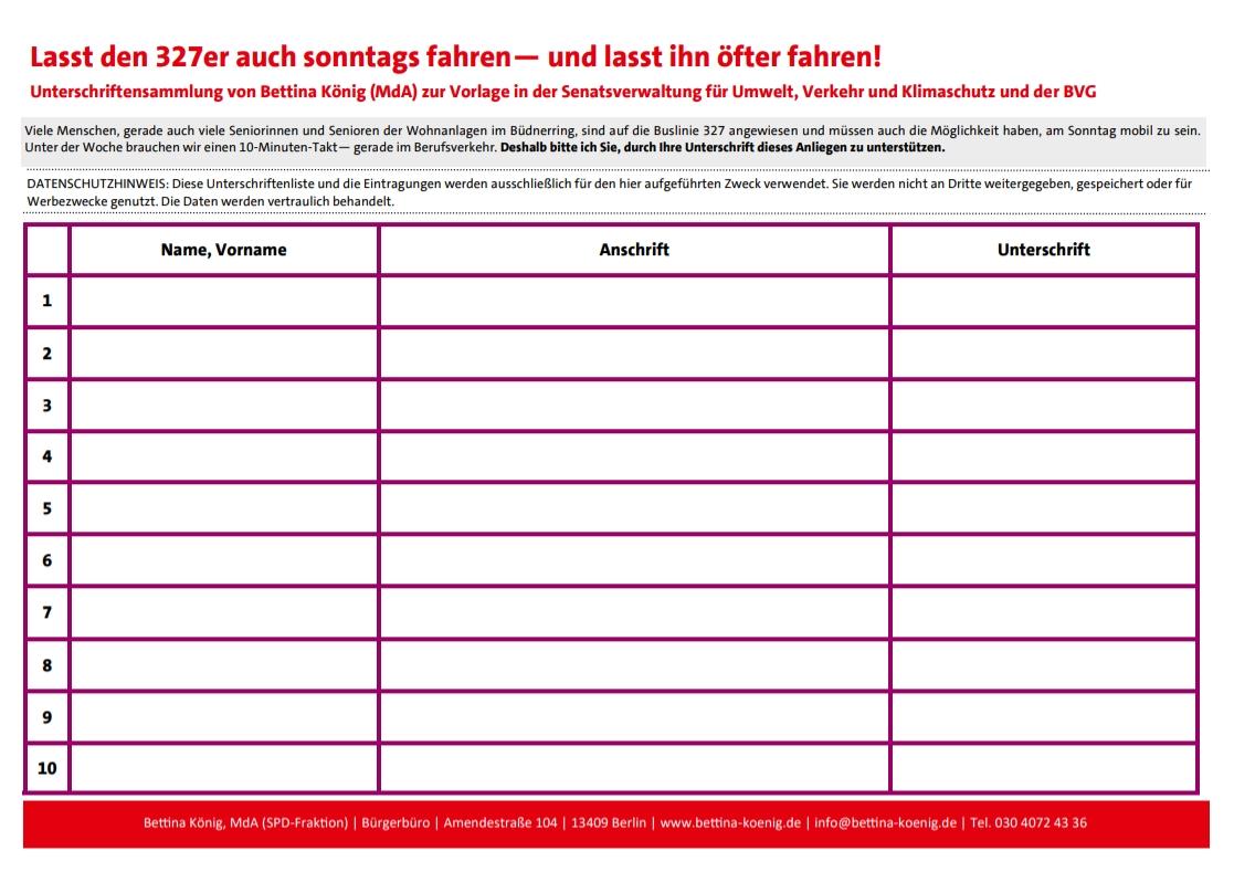 Unterschriftenliste – Buslinie 327
